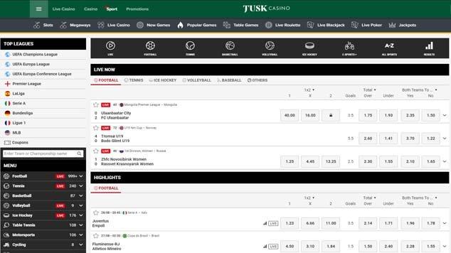 Tusk Sport Landing Page