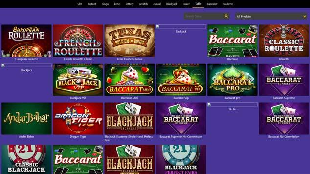 Casino Purple Table Games